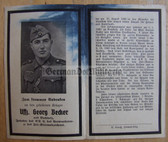 opc379 - Wehrmacht Unteroffizier Georg Becker - kia at Charkow in Russia in 1943 - Iron Cross & Wound Badge & Infantry Assault Badge - death card