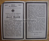 opc382 - Wehrmacht Leutnant Karl Reith - kia at Orel in Russia in 1943 - death card