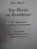 ssb004 - DER GLAUBE AN DEUTSCHLAND - special Waffen-SS edition from 1944 - by Hans Zoeberlein, Freikorps and more