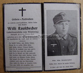 opc412 - Pioneer Obergefreiter Willi Rauschecker - died in hospital in Yugoslavia in July 1945!!! - death card