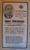 dc010 -  Civilian Ignaz Wuerzburger died in Bombing raid in May 1944 in Austria - death card