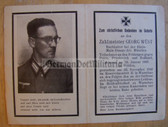 dc031 -  Administration Officer Zahlmeister Georg Wuest - died in hospital in Warsaw in November 1942 - death card