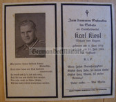 dc083 -  Stabsfeldwebel Karl Kiesl - kia in July 1944 - death card