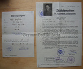 wd008 - c1935 Release papers and letter of commendation for preferred job placement for a Reichswehr/Wehrmacht soldier - very unusual set