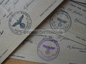od014 - set of eight end of year school certificates for the same person from 1938 to 1942 from Reichenberg