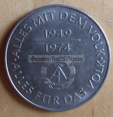om278 - 4 - East German 10 Marks issued coin - c1974 25 years anniversary of the DDR