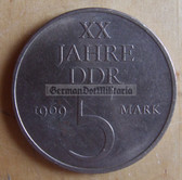 om277 - 6 - East German 5 Marks issued coin - c1969 20 years anniversary of the DDR