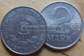 om116 - 3 - East German 2 Mark money coin - issued