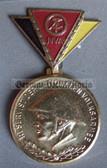 om968 - 2 - East German NVA  Reservist Medal in Gold with Steel Helmet