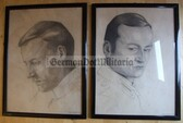 wpc054 - two large original WW1 Army Soldier pencil drawings - dated 1916 - nicely framed
