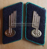 sbbs078 - 4 - DR Deutsche Reichsbahn Collar Tabs - green piping - Infrastructure & Construction