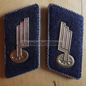 sbbs079 - DR Deutsche Reichsbahn Collar Tabs - gray piping - Waggon/Carriage/Rolling Stock Logistics - scarce