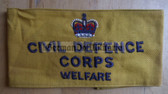 wo169 - 8 - c1950's British Civil Defence Corps - Welfare - armband