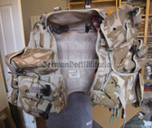 wo149 - c1999 British Army desert camo tactical vest and many pouches set