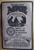 wh008 - 2 - MRE Menu 18 Meatballs in Marinara Sauce - novelty velcro patch