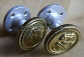 sbbs005  - ONE Pair of screw together shoulder board buttons for Volksmarine or Wasserschutzpolizei Uniforms Waterways Police