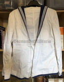 wo582 - British Royal Navy JUMPERS WHITE DRILL SEAMANS COAT STYLE UNIFORM - size D5