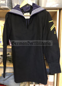 wo672 - Bundesmarine Navy sailor shirt with button in Kieler Kragen - c1988 dated - size 178/92