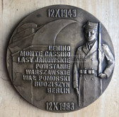 om831 - large Polish bronze table medal to commemorate battle honours of the Polish Army - Battle of Lenino anniversary