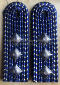 sbdr007b - OBERASSISTENT - Engineering - blue piping - Deutsche Reichsbahn - Railways - pair of shoulder boards