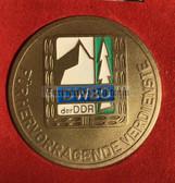oo372 - East German Hikers Association table medal in case