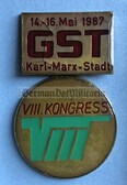 om207 - c1987 GST 8th National in Congress in Karl-Marx-Stadt medal in presentation case