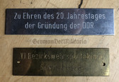 oo413 - original DDR plaques for attaching to prizes or honour presents