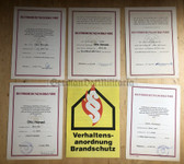 od010 - set of 5 Freiwillige Feuerwehr FFw Voluntary Fire Service promotional certs to the same man