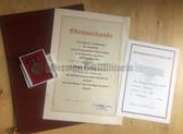 ag015 - 10 years FFw Freiwillige Feuerwehr long service medal & promotional cert award set for the same man