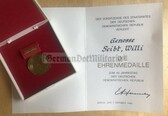 ag016 - c1989 DDR East German State anniversary medal award cert and medal