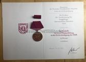ag028 - c1978 ZV Ziviliverteidigung Civil Defence long service medal with award cert