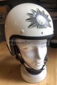 gw028 - c1980s West German police Polizei motorbike rider helmet