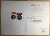 ag006 - c1989 MEDAILLE FUER VERDIENSTE IN DER VOLKSKONTROLLE award cert and medal set