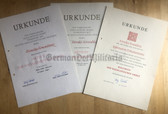 od013 - lot of medal award certs for the same woman from Berlin