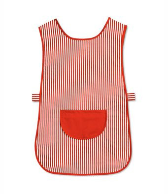Candy Stripe Tabard with Pocket Red