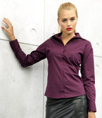 Ladies Long Sleeve Poplin Blouse - Premier PR300