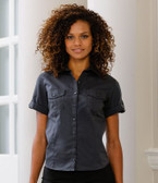 Ladies Short Sleeve Twill Roll Shirt Russell Collection 919F