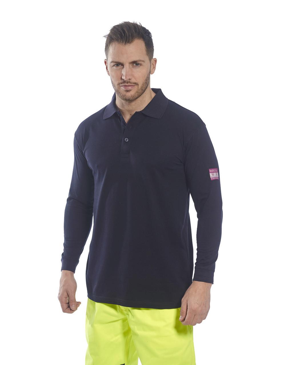 6f7103d55391c7 Flame Retardant Anti Static Long Sleeve Polo Shirt FR10 - Direct ...