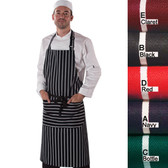 100% Cotton Denny's Butchers Stripe Bib Apron with Pocket