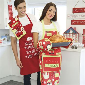 Merry Christmas character kitchen set (Double oven glove, Apron, Tea towel)