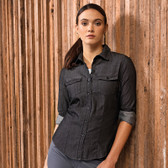 Ladies Jeans Stitch Denim Shirt - Premier PR322