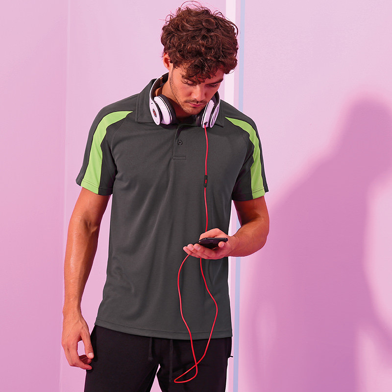 d0427283 AWDis Just Cool Contrast Polo Shirt UPF 30+. Image 1. Loading zoom