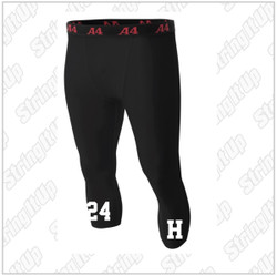Harborfields Lacrosse Youth A4 - 3/4 Length Compression Pants