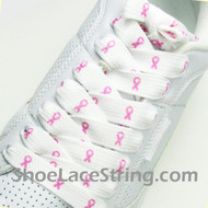 Pink Ribbon Logo Cancer Awareness Fat Wide Shoe Laces String 1 PR