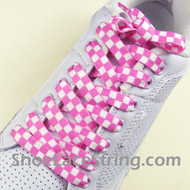 Pink White Checkered Shoe Laces Shoe Strings 2Pairs