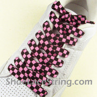 Pink Black Checkered Shoe Laces Shoe Strings 2Pairs