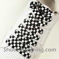 Black White Checkered Shoe Laces Shoe Strings 1 Pairs
