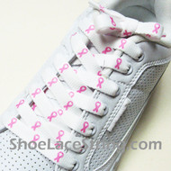 Pink Ribbon Logo / Symbol Breast Cancer Awareness Shoe Lace 2PRS