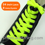 Neon Yellow Wide/Fat Flat 54INCH ShoeString ShoeLaces 1 Pairs