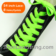 Neon Green Wide/Fat Flat 54INCH Shoe Laces Shoe Strings 1 Pairs